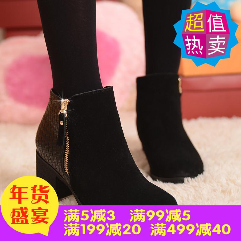 大码女靴41-43秋冬季真皮马丁靴高跟裸靴40短靴42小码女鞋31 3233