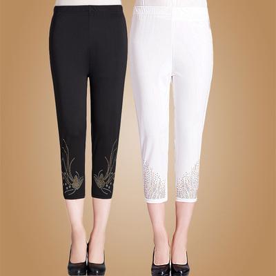 中老年女装裤夏季外穿妈妈装纯色休闲打底7分裤中年妇女七分裤子