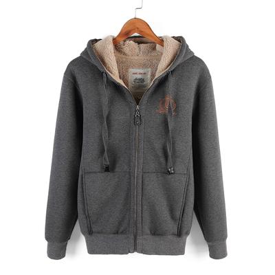 2018冬季新款男士加绒加厚开衫连帽卫衣羊羔绒内胆保暖外套大码潮