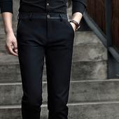 裤子男春季男士直筒商务休闲裤修身韩版潮流小脚西裤弹力黑色长裤