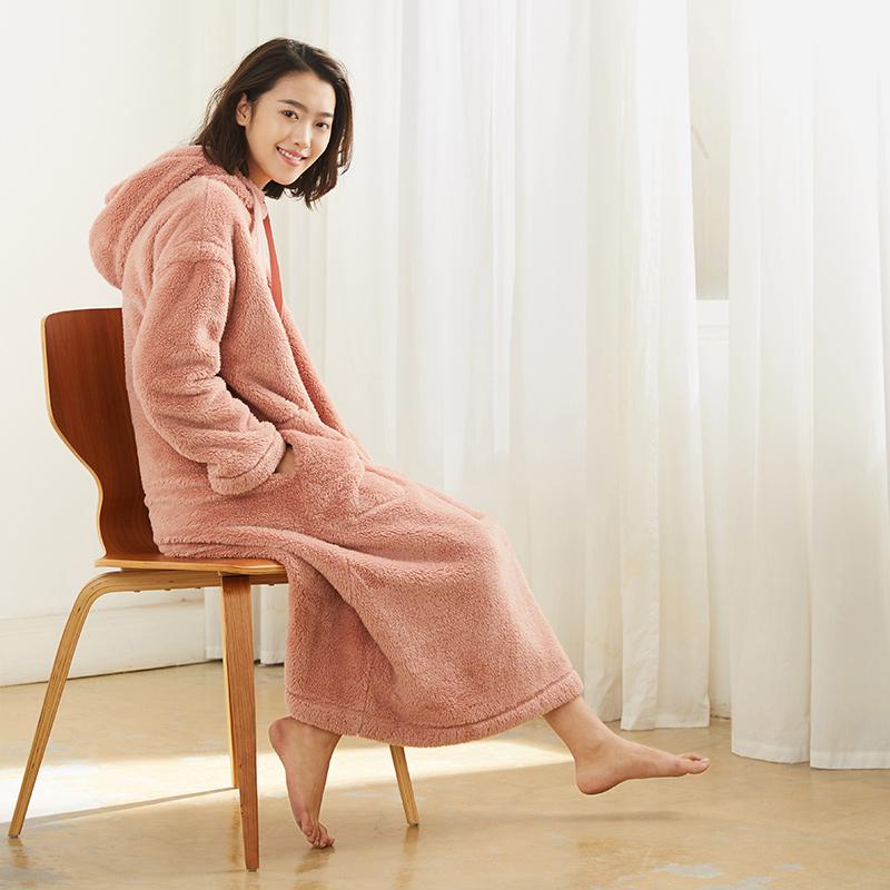 珊瑚绒睡女套头长袖裙