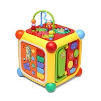 Gu Yu six-sided box wisdom cube digital wisdom house around the beads pairing blocks music game table toy table 1-3 years old