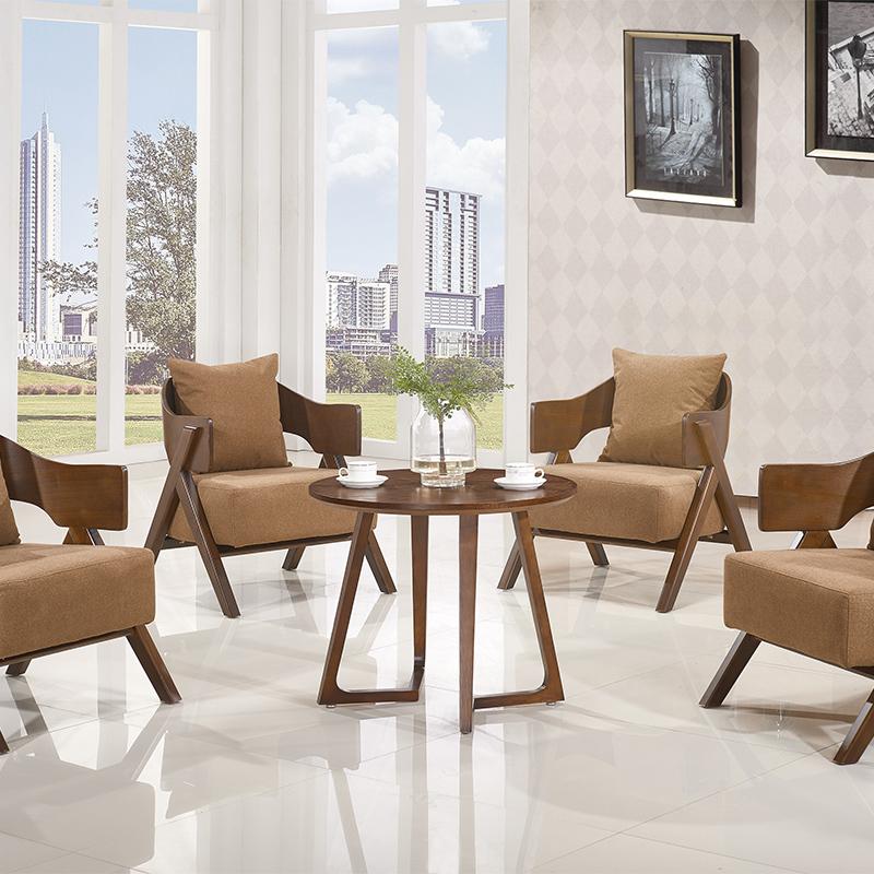 奥派实木贵宾接待沙发椅子洽谈桌椅售楼处接待沙发休闲会客桌椅