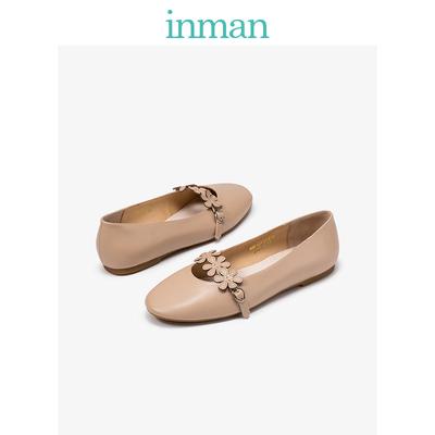 茵曼女鞋小香风裸色圆头复古奶奶浅口平底花朵单鞋4881013131T