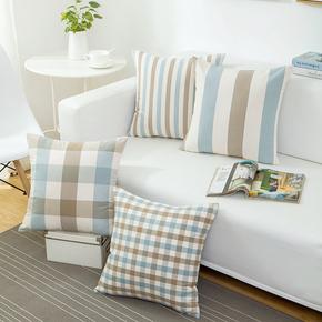 欧式蓝白灰格子沙发抱枕靠垫套办公室靠垫抱枕套不含芯靠枕北欧风
