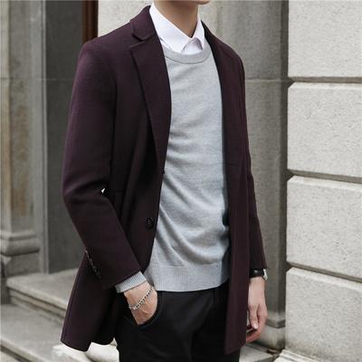 2018新款呢子毛呢双面羊绒大衣男短款修身青年帅气西装外套潮流