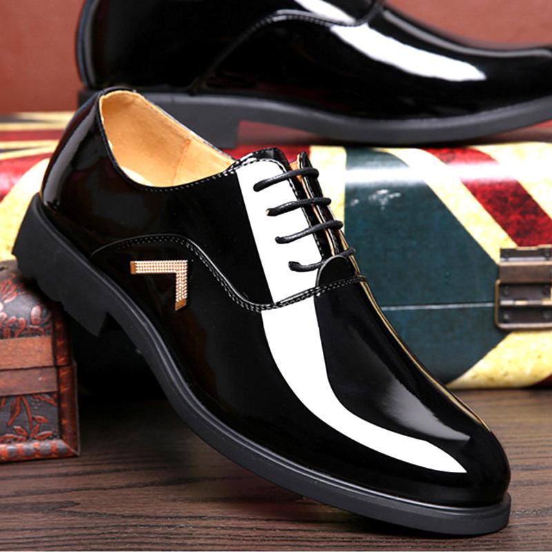 男士商务正装漆皮鞋隐形内增高男鞋真皮男士低帮鞋亮面发型师潮鞋1元优惠券