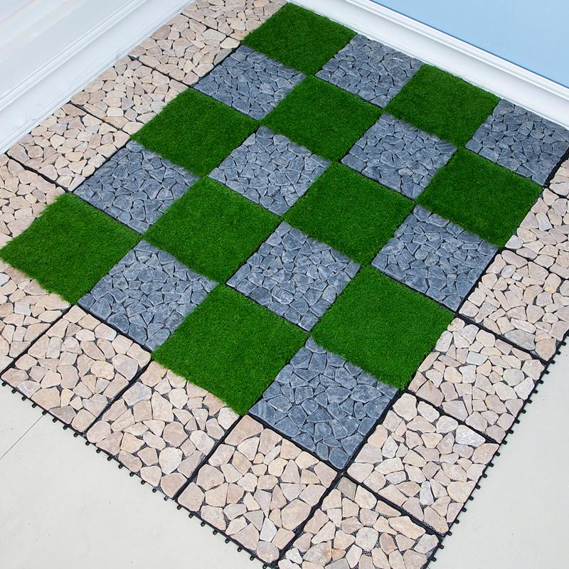 石头地板 鹅卵石青石大理石DIY拼接石头地板 户外地漏地板