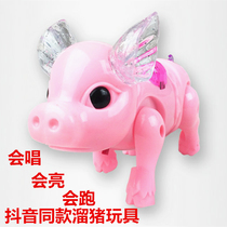 Shake the same toy electric Rope Piggy Creative luminescent concert Walking pig kids toy Walking pig