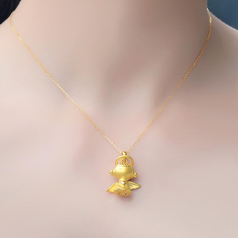 久爱珠宝3D硬金黄金吊坠999足金项链女款可爱天使宝宝项坠饰正品