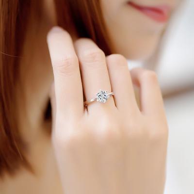 925纯银戒指男士女款仿真钻石情侣对戒网红戒指一对食指尾戒指环