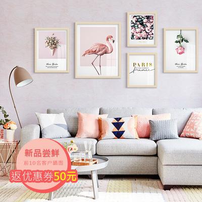 北欧风格装饰画粉色花卉挂画简约现代客厅餐厅组合画火烈鸟壁画