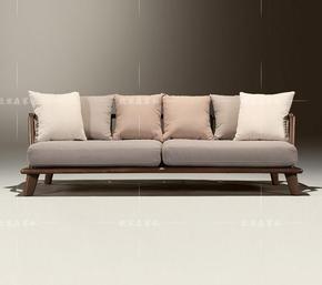 北美黑胡桃实木沙发中式日式客厅布艺三人沙发北欧简约现代家具