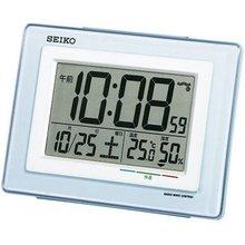 SEIKO精美台钟座钟SQ686 数字日期温度湿度计 床头闹钟电波钟表