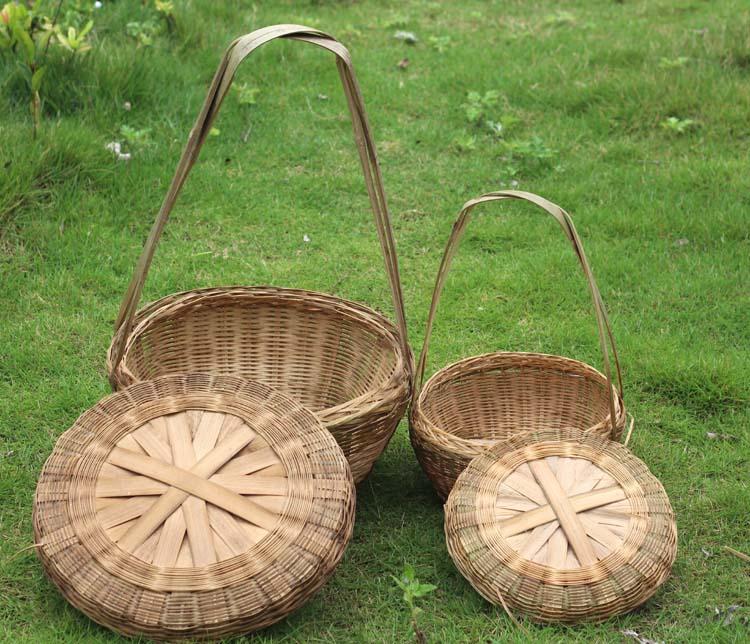 竹编手提篮手挎篮采茶篮蔬果提篮农家乐采摘篮竹制提篮竹编装饰篮