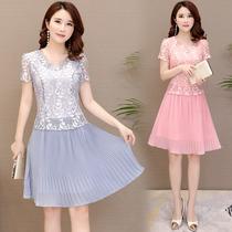 中年女装2018夏季新款连衣裙30-40岁雪纺百褶蕾丝拼接大码妈妈装