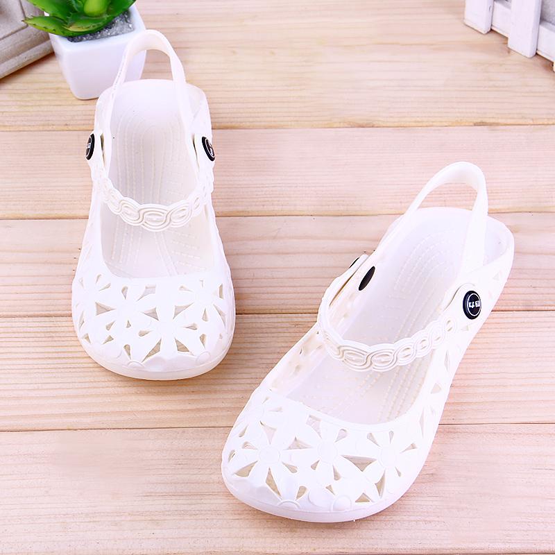 回力塑料凉鞋女夏季白色平底坡跟韩版洞洞鞋小白鞋医院上班护士鞋