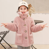 Children's fur coat winter new yin children's clothing particle velvet sheep shear coat princess fur together