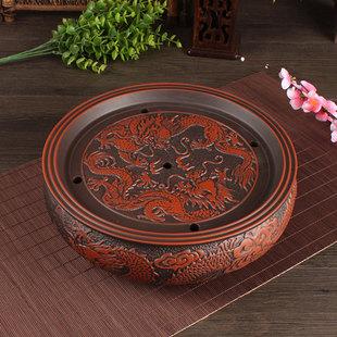 功夫茶盘 茶具茶船茶海陶瓷紫砂茶盘托盘套装圆形大茶盘家用特价