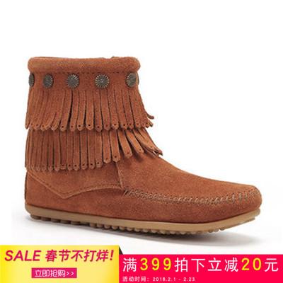 Minnetonka迷你唐卡短靴美国正品代购秋冬中筒靴保暖平底流苏女靴
