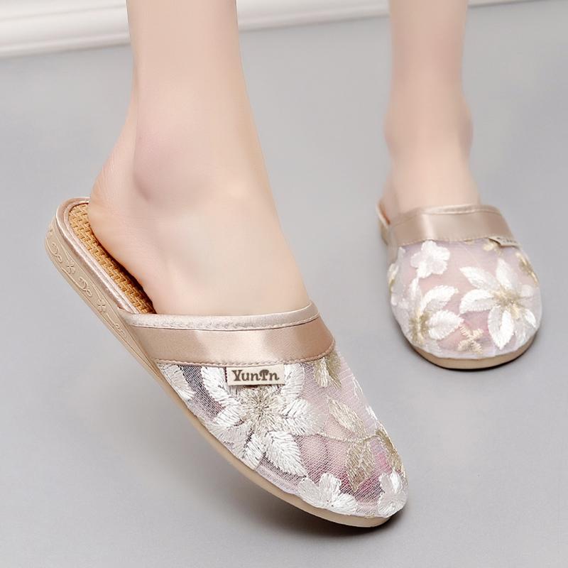 女士家居凉拖鞋夏季防滑地板室内托鞋女蕾丝家用居家鞋亚麻拖鞋