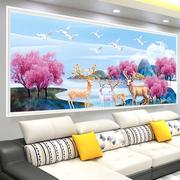 蒙娜丽莎十字绣2018新款线绣客厅简约现代大幅发财麋鹿欧式满绣新