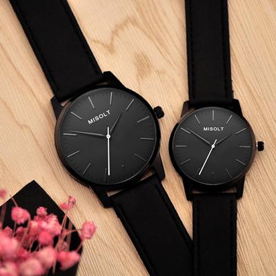 新款情侣手表一对 韩版学生表简约黑色情侣表日历石英表皮带钢带哪里便宜