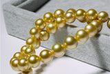 Extra large round 12-13-15mm natural sea pearl necklace gold beads golden sea water Zhennanyangzhu to mother