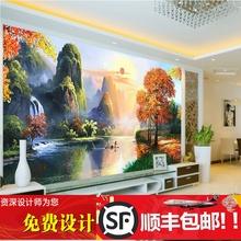 3d立体欧式油画风景壁纸宝地生金电视沙发卧室背景墙墙布无缝壁画