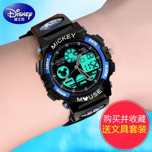 迪士尼儿童手表男孩电子表中小学生米奇防水男童运动儿童电子手表