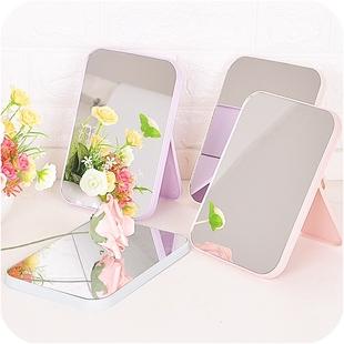 简约北欧风高清单面化妆镜子台式梳妆 镜子美容公主镜折叠方镜子