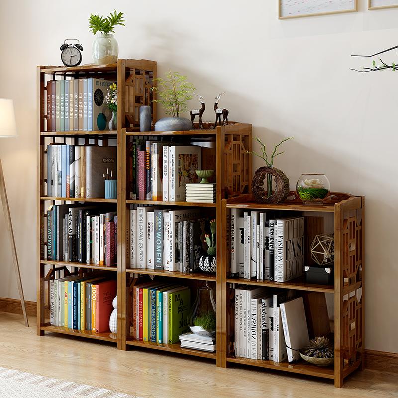 中式书架书柜简约现代多功能仿古书柜学生简易书架落地实木置物架