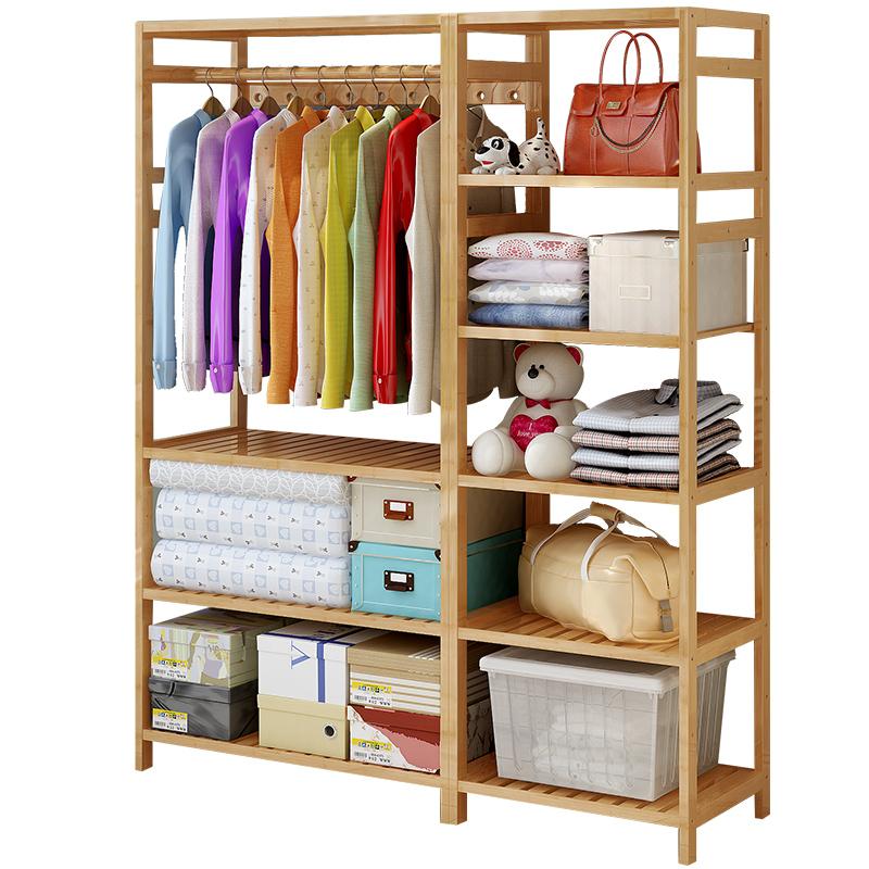 简易衣柜落地卧室组合衣架子防尘布衣柜简约现代经济型衣橱收纳柜