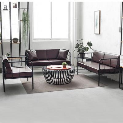 简易单人复古奶茶店休闲吧LOFT工业风工作室铁艺沙发组合桌椅专卖店