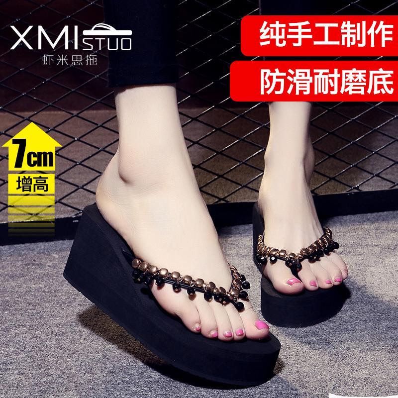 夹脚串珠拖鞋