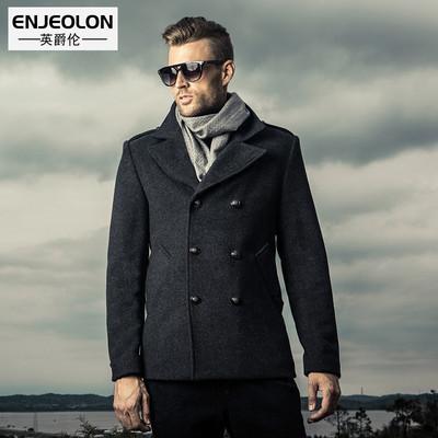 英爵伦 冬季男式羊毛大衣英伦 双排扣风衣妮子羊 绒短款外套翻领