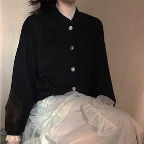 复古暗黑宫廷风气质宽松短外套拼接蕾丝花边少女毛衣开衫加绒厚女