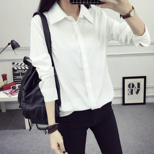 秋冬新款加绒加厚保暖白衬衫女长袖韩范宽松职业正装学生休闲衬衣