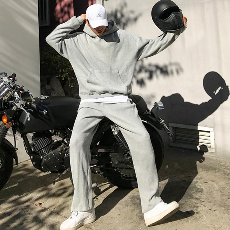 东大门韩国男装代购素雅微阔跨肩大码连帽套头卫衣运动休闲裤套装