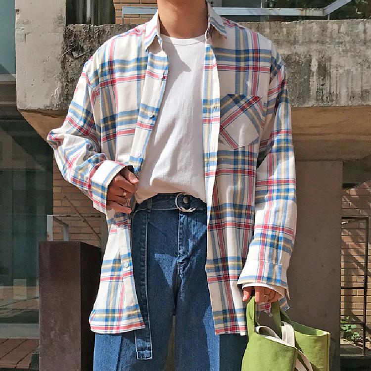 东大门韩国男装代购三系条纹撞色宽松微阔方领长袖衬衫潮搭衬衣