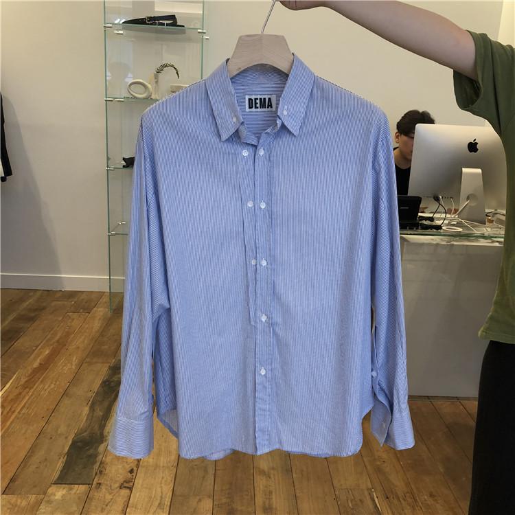 东大门韩国男装代购直播款式纯色条纹两排纽扣宽松长袖衬衫190827