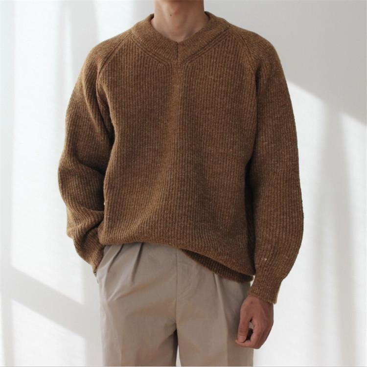 韩国东大门男装代购加厚保暖V领插肩宽松韩版套头毛衣针织衫0930