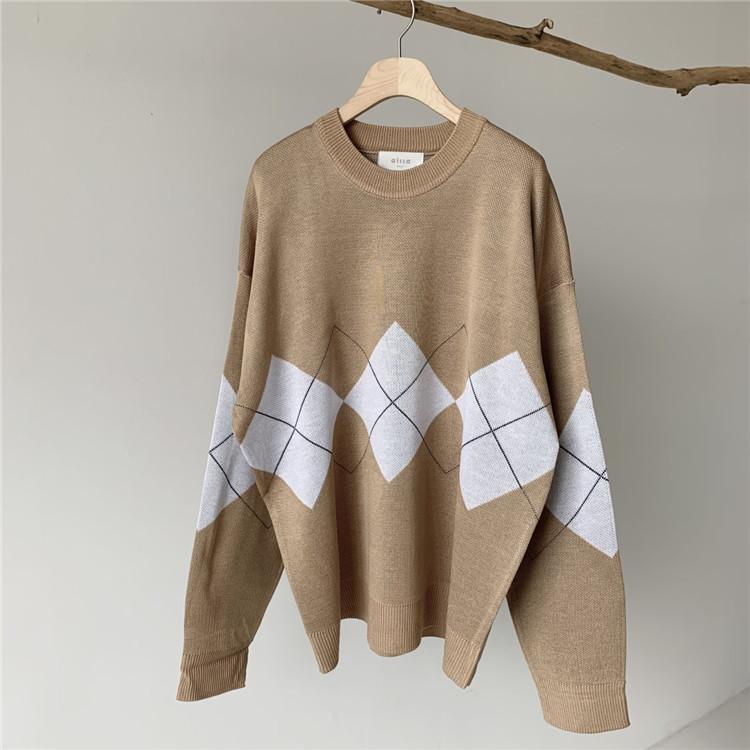 东大门韩国男装代购创意几何撞色宽松微阔落肩套头毛衣针织衫0831