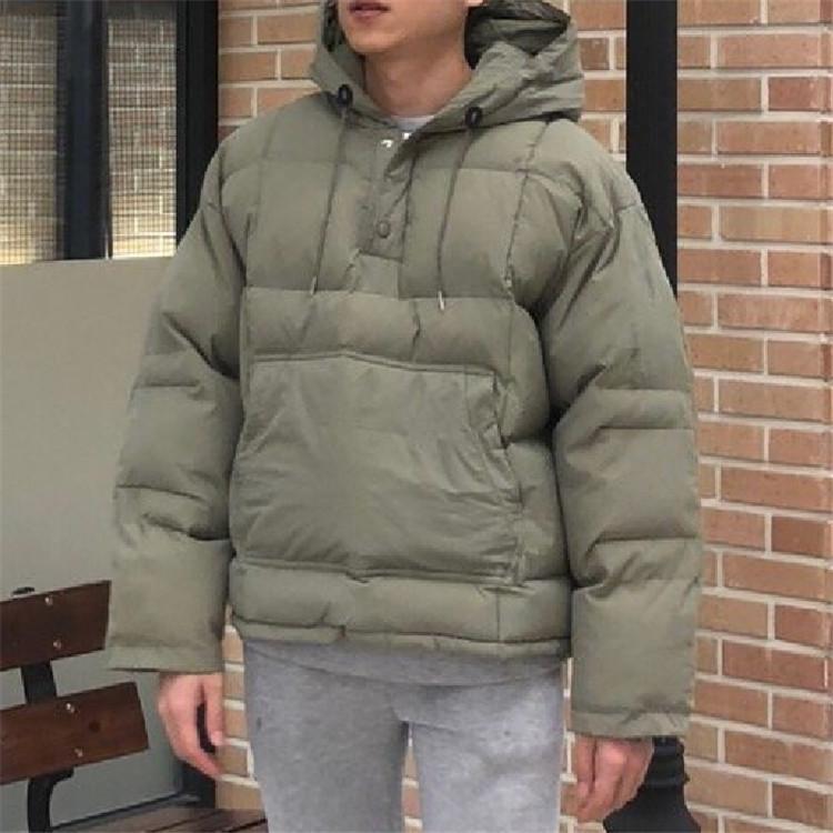 东大门韩国男装代购百搭扎线连帽宽松棉服外套秋冬套头夹克18新