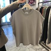 直播款 T恤背心190502 式毛圈卷边宽松镭版无袖 代购 东大门韩国男装