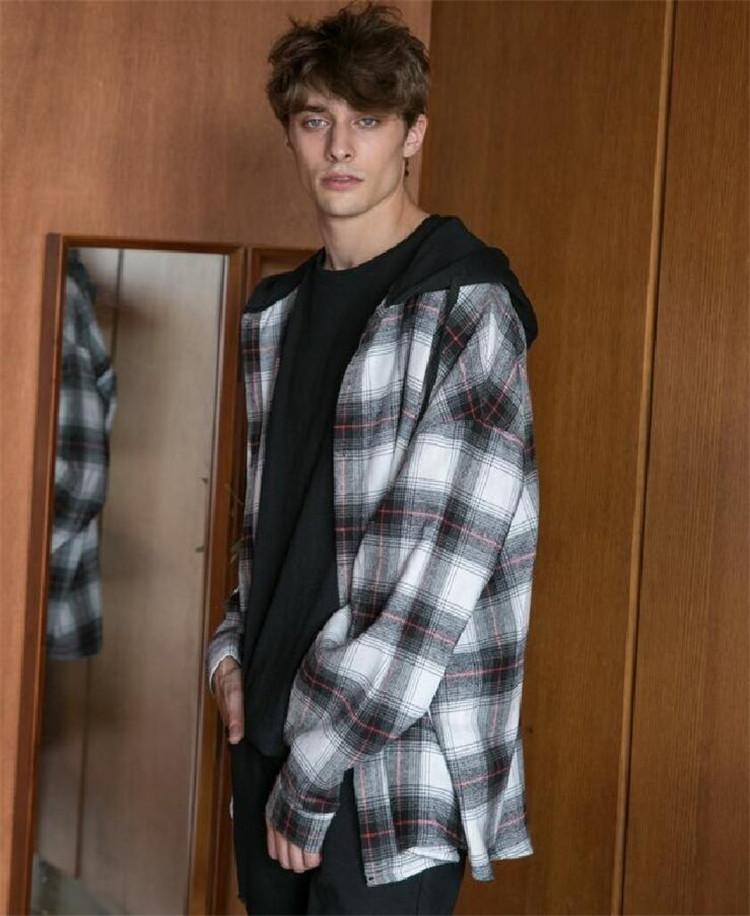 东大门韩国男装代购气质格纹混色连帽宽松情侣款长袖衬衫外塔实拍