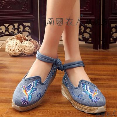 2018春夏绣花鞋民族风女鞋新款老北京帆布鞋棉麻坡跟棉麻女单布鞋