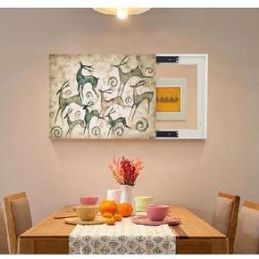 时尚滑道挂画电表装饰墙上壁画风景推拉配电立体墙壁美式墙上壁画