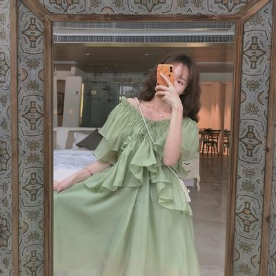 NiHut 沙滩裙2019新款女夏雪纺长裙长款一字肩V领连衣裙初恋裙子