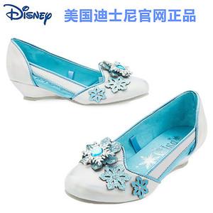 现货 美国迪士尼正品 9-10岁儿童公主鞋爱莎公主女孩低跟单皮鞋